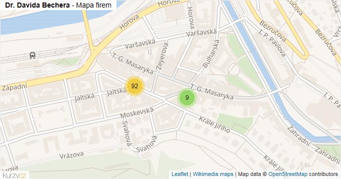 Dr. Davida Bechera - mapa rozložení firem v ulici.