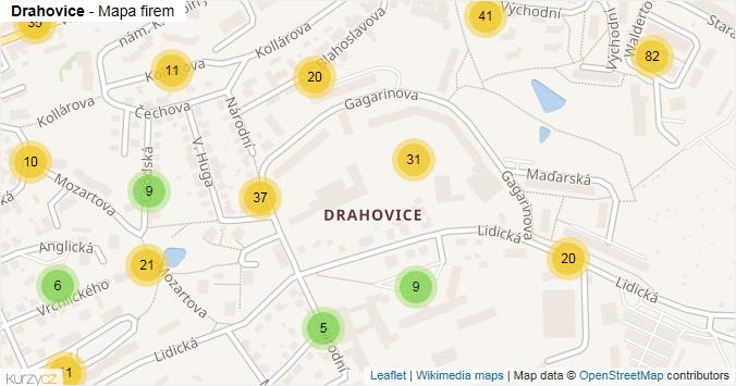 Drahovice - mapa rozložení firem v části obce.