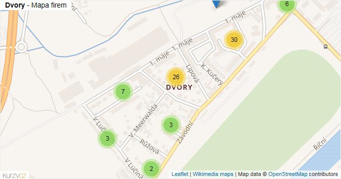 Dvory - mapa rozložení firem v části obce.