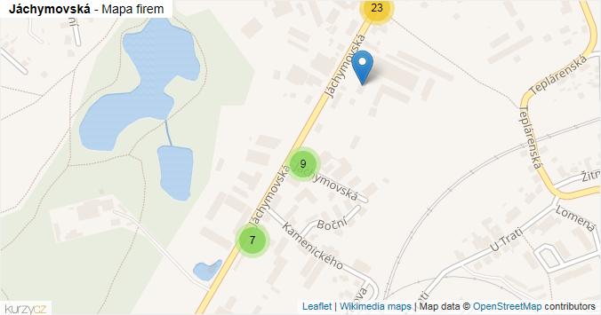 Jáchymovská - mapa rozložení firem v ulici.