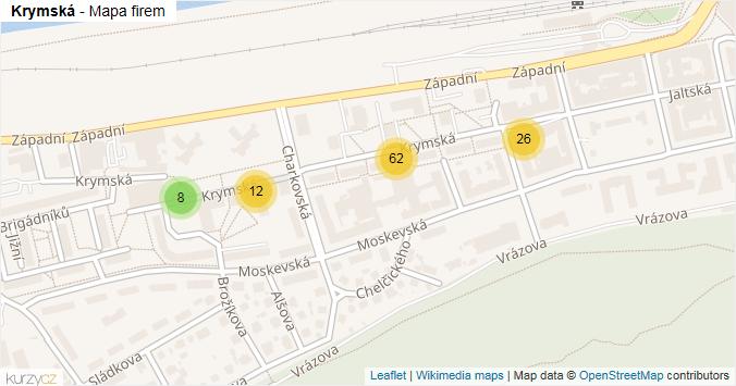 Krymská - mapa rozložení firem v ulici.