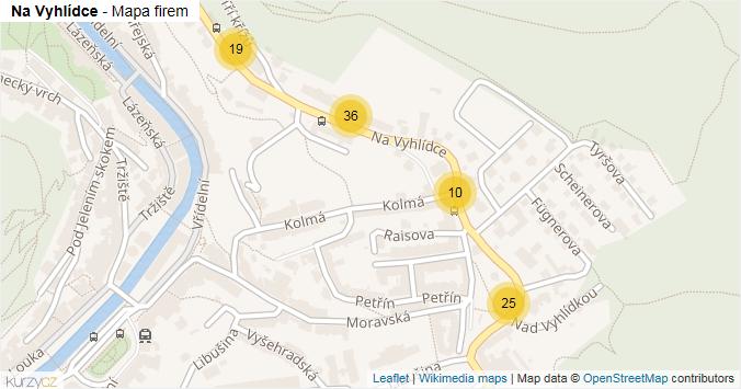 Na Vyhlídce - mapa rozložení firem v ulici.