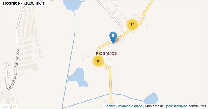 Rosnice - mapa rozložení firem v části obce.