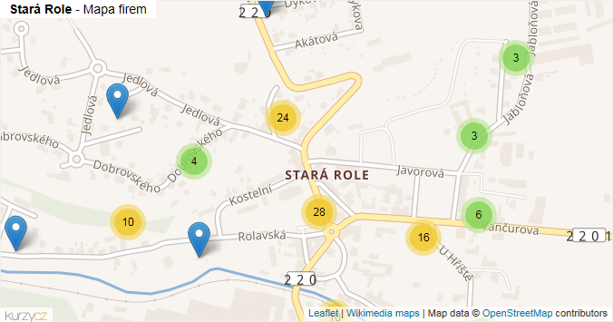 Stará Role - mapa rozložení firem v části obce.