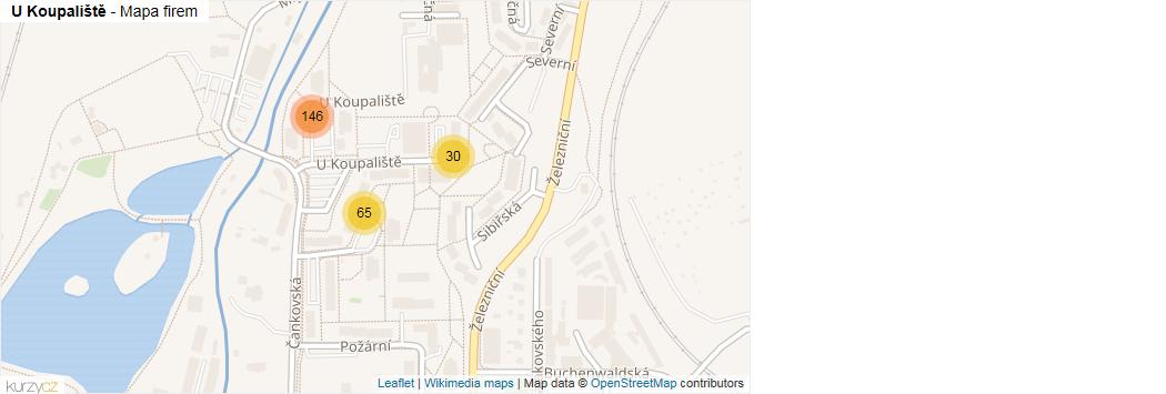 U Koupaliště - mapa rozložení firem v ulici.