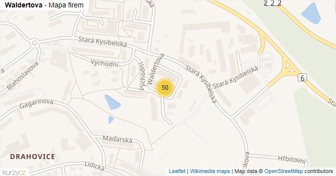 Waldertova - mapa rozložení firem v ulici.