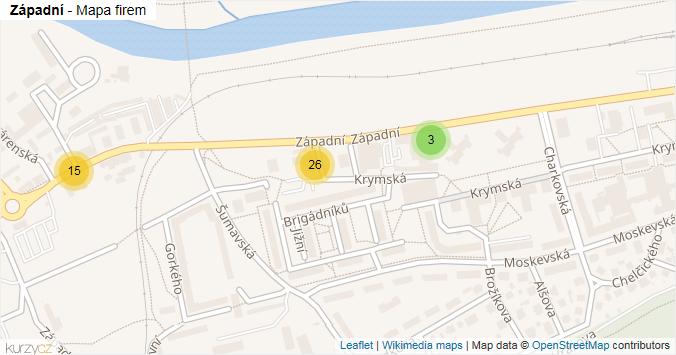 Západní - mapa rozložení firem v ulici.