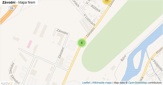 Závodní - mapa rozložení firem v ulici.