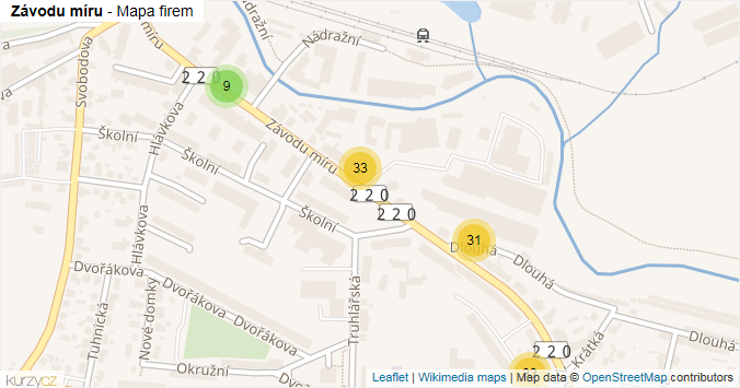 Závodu míru - mapa rozložení firem v ulici.