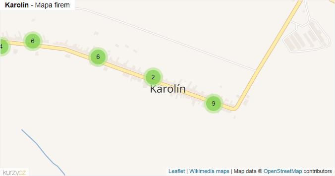 Karolín - mapa rozložení firem v části obce.