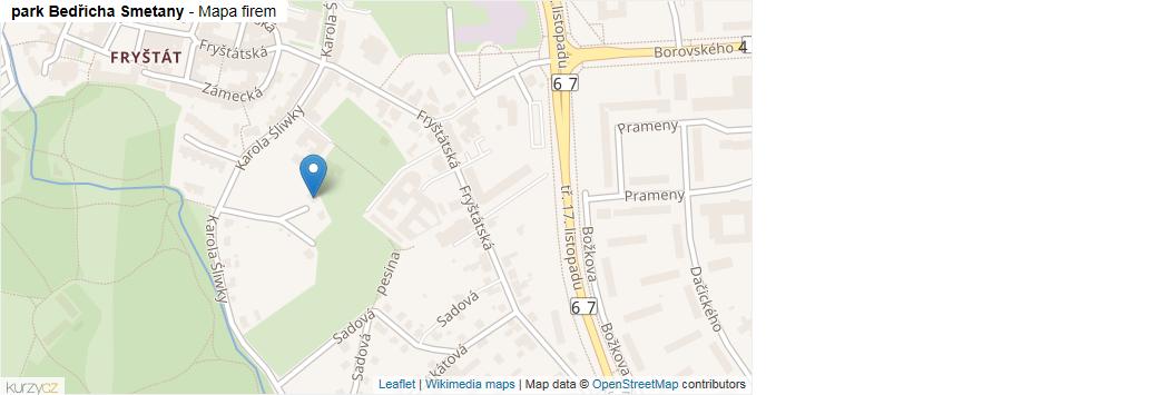 park Bedřicha Smetany - mapa rozložení firem v ulici.