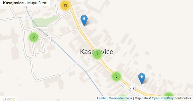 Kasejovice - mapa rozložení firem v obci.