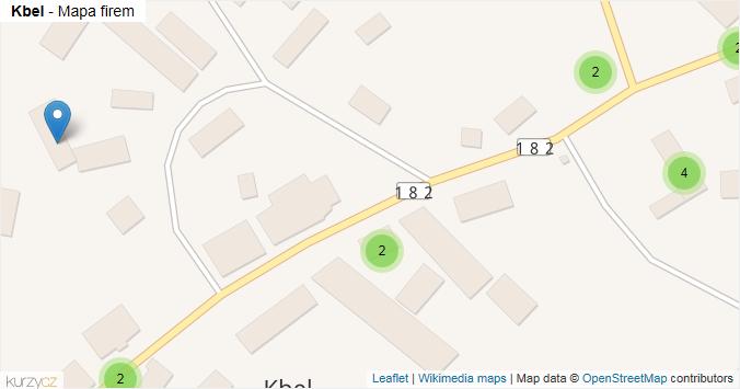 Kbel - mapa rozložení firem v obci.