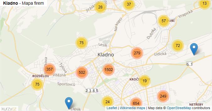 Kladno - mapa rozložení firem v obci.