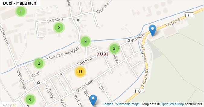 Dubí - mapa rozložení firem v části obce.