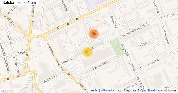Italská - mapa rozložení firem v ulici.