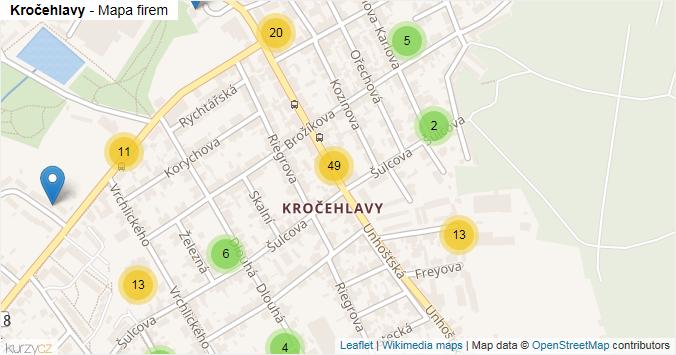 Kročehlavy - mapa rozložení firem v části obce.