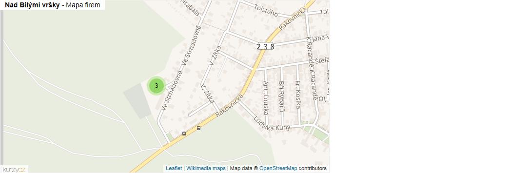 Nad Bílými vršky - mapa rozložení firem v ulici.