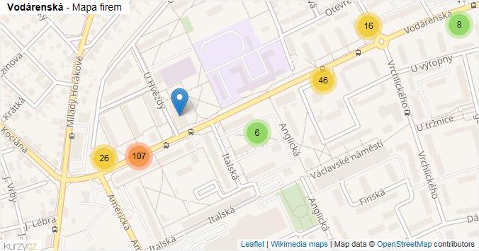 Vodárenská - mapa rozložení firem v ulici.