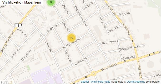 Vrchlického - mapa rozložení firem v ulici.