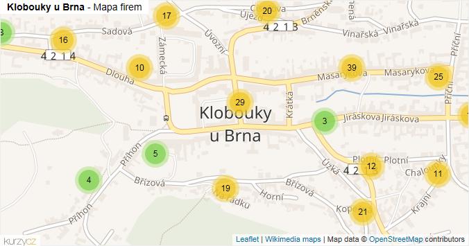 Klobouky u Brna - mapa rozložení firem v obci.