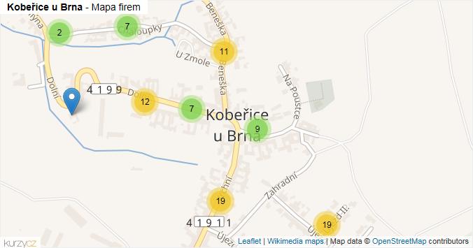 Kobeřice u Brna - mapa rozložení firem v části obce.