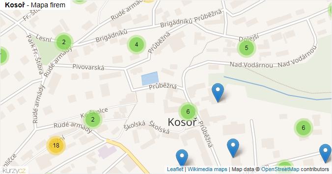 Kosoř - mapa rozložení firem v obci.