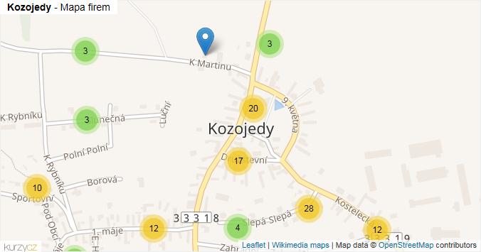 Kozojedy - mapa rozložení firem v části obce.
