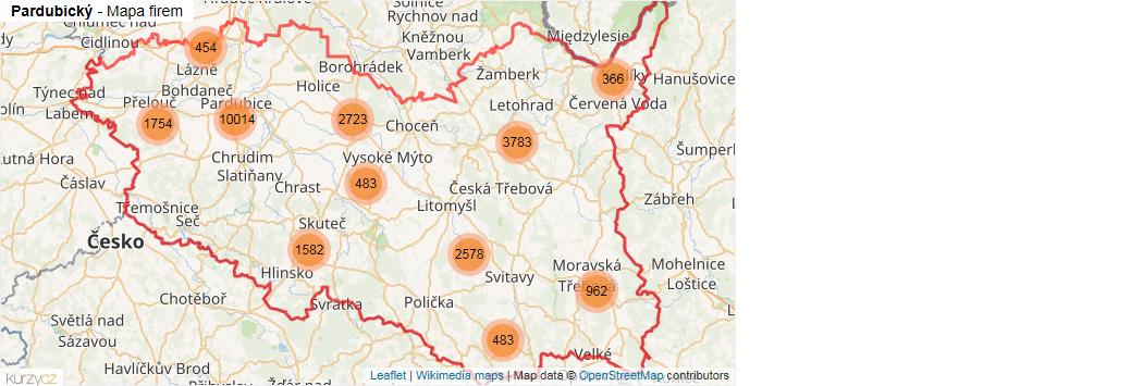 Pardubický - mapa rozložení firem v kraji.
