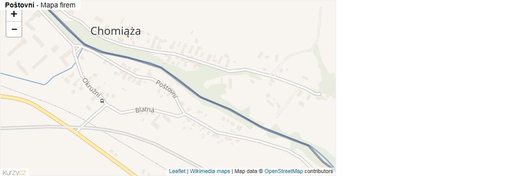 Poštovní - mapa rozložení firem v ulici.