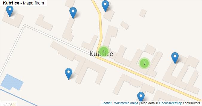 Kubšice - mapa rozložení firem v obci.