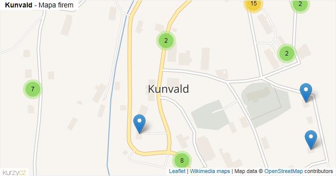 Kunvald - mapa rozložení firem v obci.