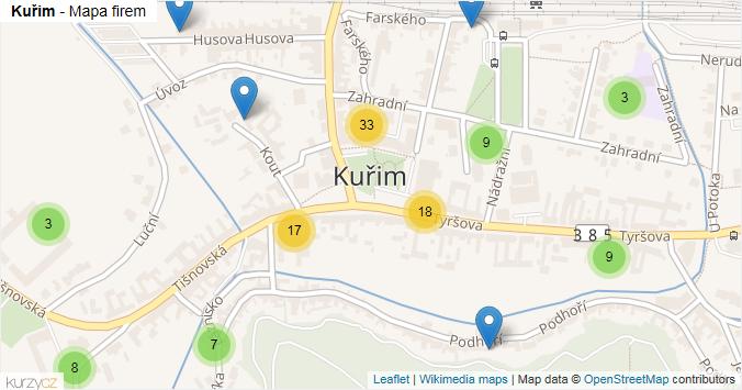 Kuřim - mapa rozložení firem v části obce.
