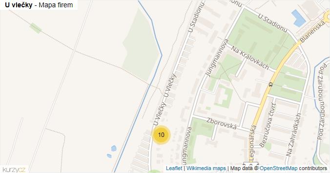 U vlečky - mapa rozložení firem v ulici.