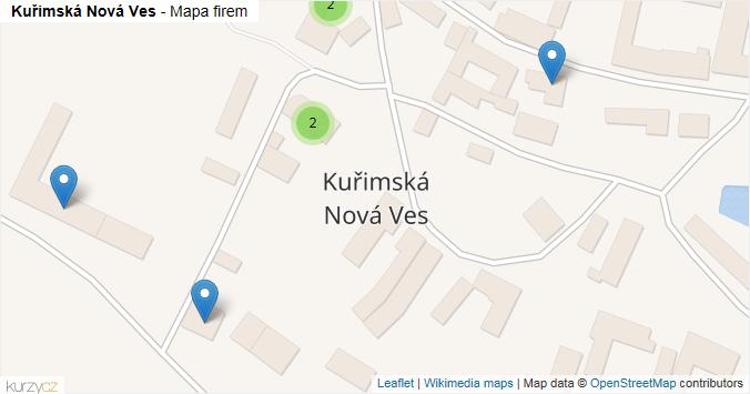 Kuřimská Nová Ves - mapa rozložení firem v obci.