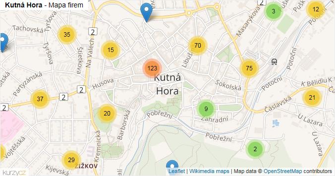 Kutná Hora - mapa rozložení firem v obci.