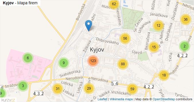 Kyjov - mapa rozložení firem v obci.