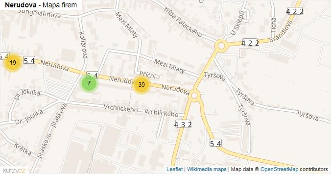 Nerudova - mapa rozložení firem v ulici.