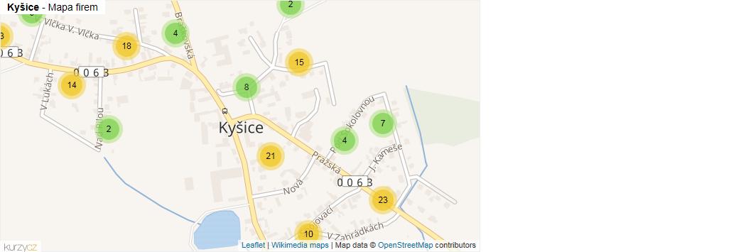 Kyšice - mapa rozložení firem v části obce.