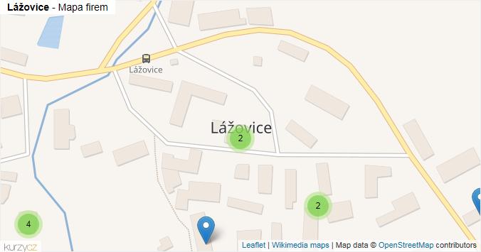 Lážovice - mapa rozložení firem v obci.