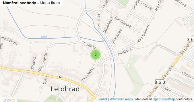 Náměstí svobody - mapa rozložení firem v ulici.