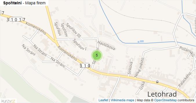 Spořitelní - mapa rozložení firem v ulici.