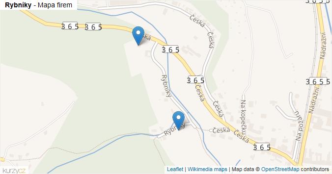 Rybníky - mapa rozložení firem v ulici.