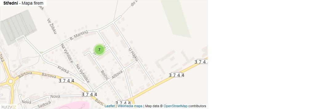 Střední - mapa rozložení firem v ulici.