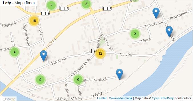 Lety - mapa rozložení firem v obci.