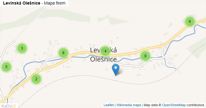 Levínská Olešnice - mapa rozložení firem v části obce.