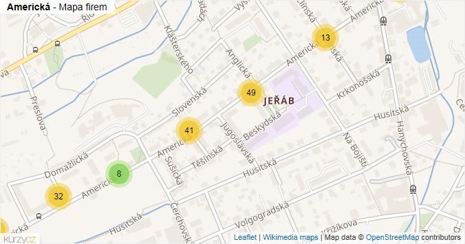 Americká - mapa rozložení firem v ulici.