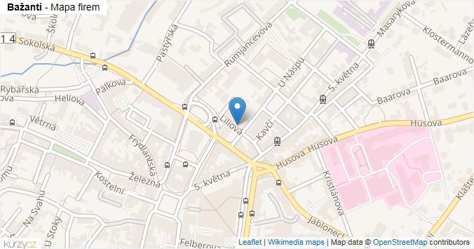 Bažantí - mapa rozložení firem v ulici.