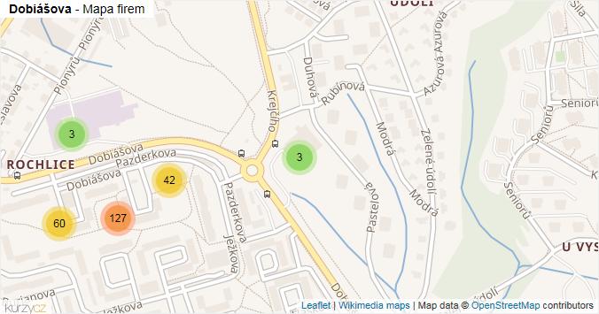 Dobiášova - mapa rozložení firem v ulici.