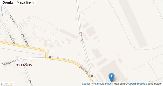 Domky - mapa rozložení firem v ulici.